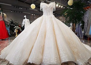 China Champagne Off Shoulder Wedding Gown , Big Ball Gown Dresses Beaded Tassels supplier