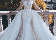 Outside Mermaid Ballgown Bridal Gowns Beading 2 In 1 Long Train Lace