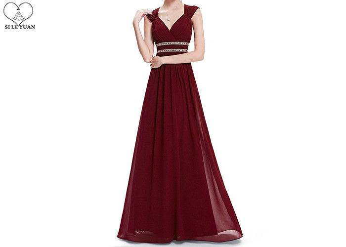 No Tail Chiffon V Neck Bridesmaid Dress Waist Beading Sleeveless Back Hollow Out