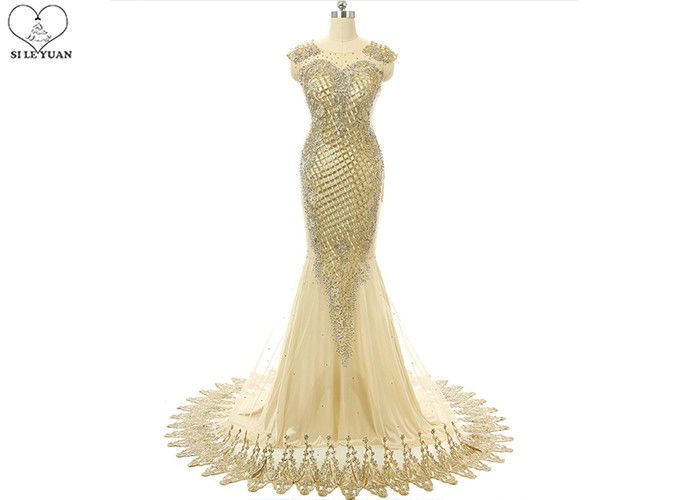 Sleeveless Gold Long Tail Gown Lace Front Back Embroidery Beading Side Zipper