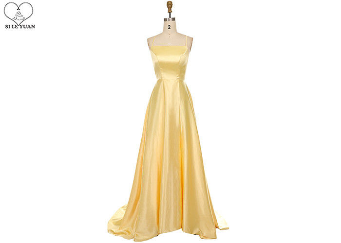 Yellow Long Tail Gown Stretch Satin Fabric Sleeveless Backless Bandage For Party