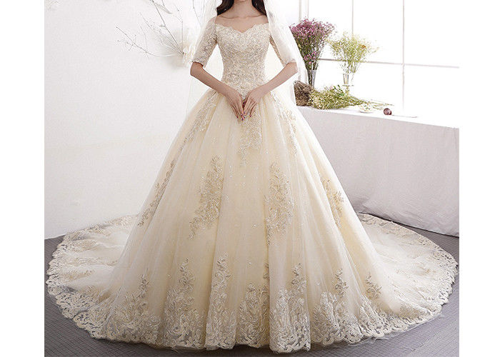 Lace Long Tail Bridal Dresses Off Shoulder Half Sleeve Back Bandage With  Logo Custom