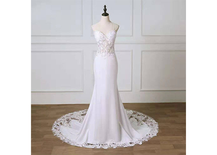 Sling Lace Mermaid Long Tail Bridal Gown  / Off The Shoulder Wedding Dress