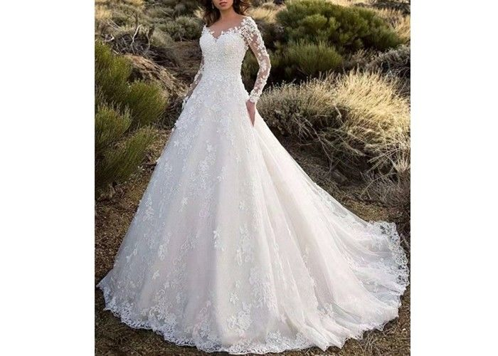 Long Sleeve Backless Flower Lace Ball Gown Wedding Dress With Long Tail Off White Color