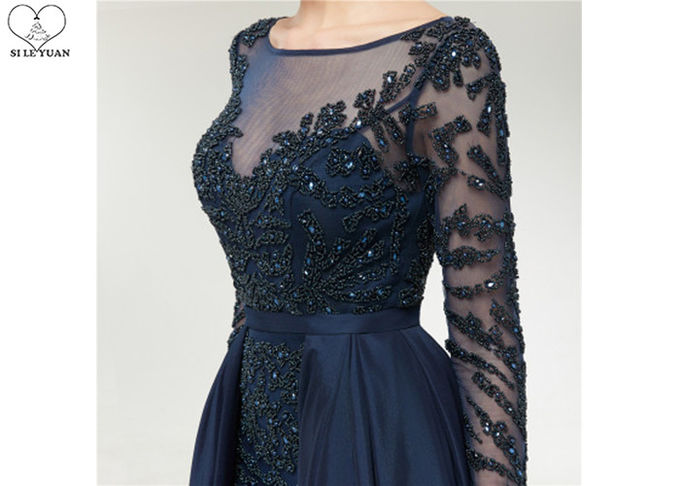 Wine Navy Blue Long Tail Gown , Heavy Beaded 2 In 1 Formal Ball Gowns Long Sleeve