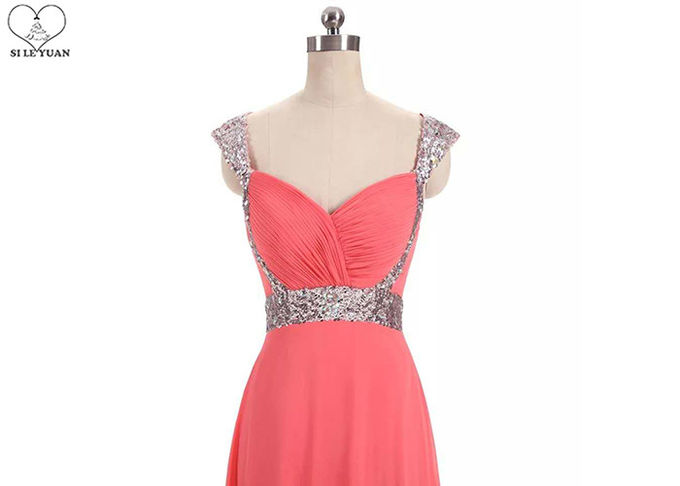 Silver Sequin A Line Ball Gown , Coral Red Chiffon Sweetheart Backless Prom Dress